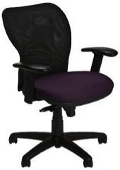 Note - Finishes pictured may vary from item specified Features: •Mid –back mesh, medium seat • Swivel Tilt Control • Full Function Arms – Height/Width/Pivot Adjustable • Seat Depth Adjustment • Black Base • Black Mesh Back